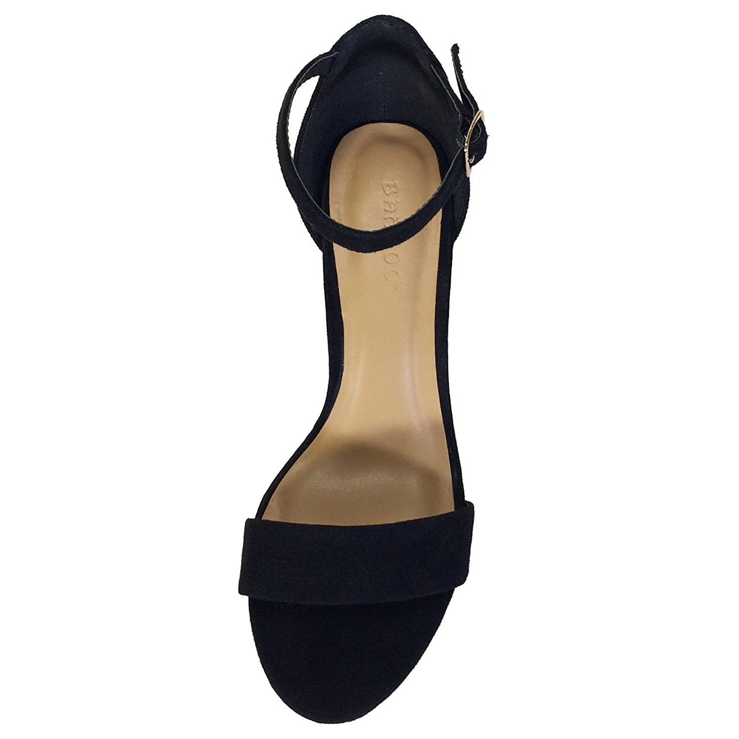 Bamboo Womens Gold Electroplated Chunky Heel Sandal Heels Wanita Suede 274 With Ankle Strap Black Faux 65 D M Us Heeled Sandals