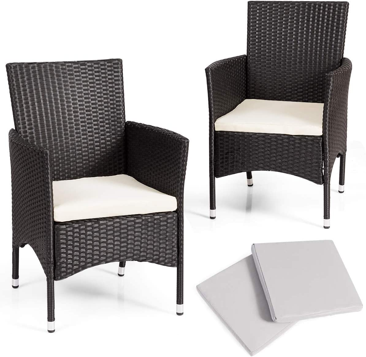 TANGKULA Set of 3 Patio Chairs, Outdoor Wicker Dining Chairs with Removable  Cushions, Armchairs for Garden, Porch, Poolside, Balcony, with 3 Cushion