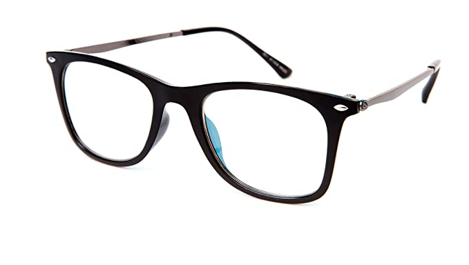 afd89c93d59 Image Unavailable. Image not available for. Colour  THEWHOOP Unisex Metal Full  Rim Wayfarer Spectacle Frame ...