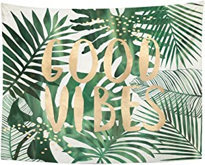 Emvency Tapestry Green Beach Good Vibes Quote Tropical Leaves Wall Collage Home Decor Wall Hanging for Living Room Bedroom Dorm 60x80 Inches