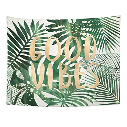 Amazon Emvency Tapestry Green Beach Good Vibes Quote Tropical