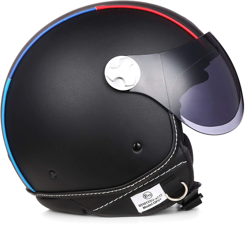"Armor /· AV-84 Pure /""Booster/"" /· Open Face Helmet /· Retro Motorcycle Pilot Jet Scooter Motorbike /· ECE certified /· Visor /· Exclusive Leather-Design /· Click-n-Secure Clip /· Carrier Bag /&middo"