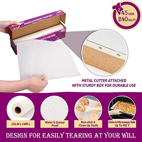 12 in x 240 ft 240 Sq.ft Non-Stick Pa Hiware Parchment Paper Roll for Baking