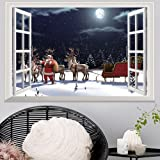 Christmas Xmas Wall Sticker,LEvifun Merry Christmas 3D Window Santa Reindeer Removable Vinyl Art Wall Window Door Home Decals Decor Decoration Sticker,72*48cm