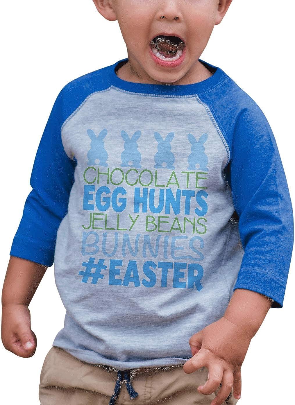 7 ate 9 Apparel Kids Funny Easter Grey Raglan