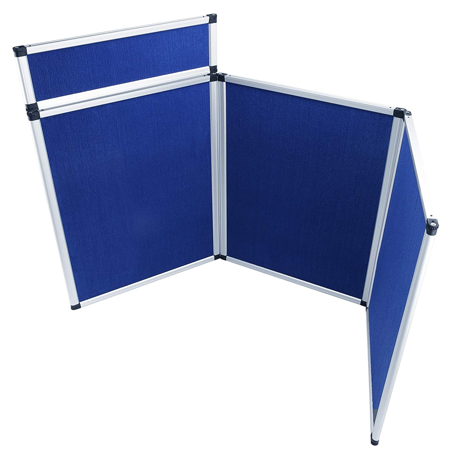 Voilamart Folding Exhibition Display Board 3 Panel Show Board and Header Flannelette Surface Aluminium Frame Kit for Displays Schools Conferences and Office Blue with Carry Bag