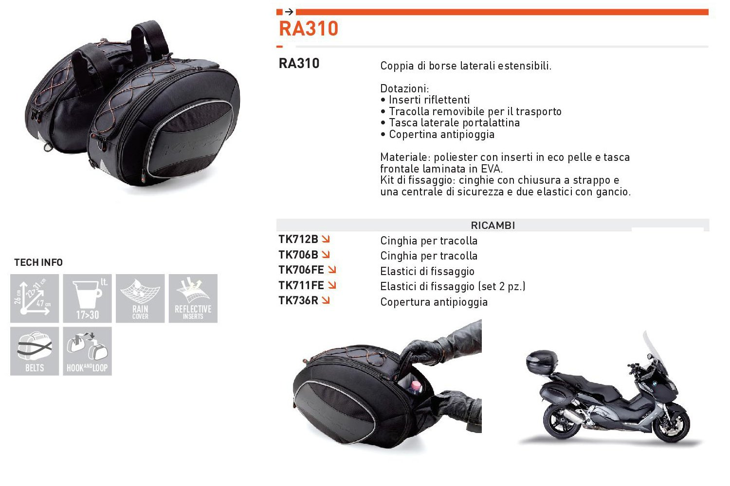 a80b5613c0 Kappa RA310 Borse Laterali, Set di 2: Amazon.it: Auto e Moto