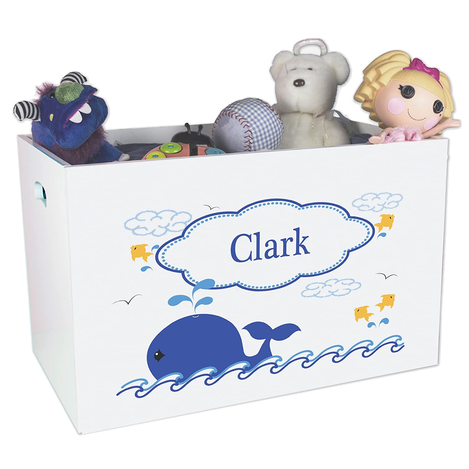 Personalized Whale Childrens Nursery White Open Toy Box MyBambino ybin-313b