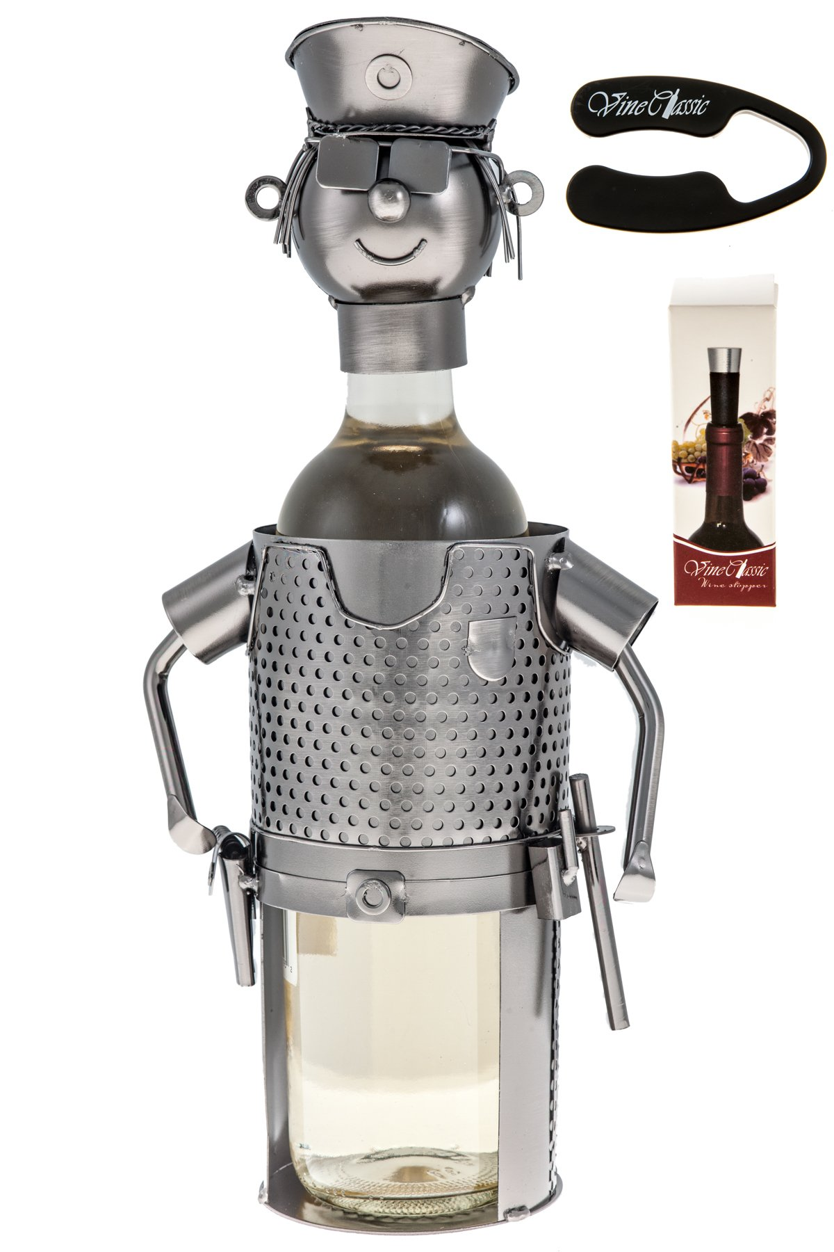 Upscale Innovations Police Officer Dressed in His Uniform Wine Bottle Holder plus a Wine Foil Cutter and a Wine Bottle Vacuum Stopper by Upscale Innovations