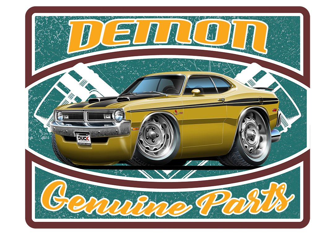 Dodge Demon Colors >> Amazon Com 1971 Dodge Demon Parts Sign Wall Art Graphic