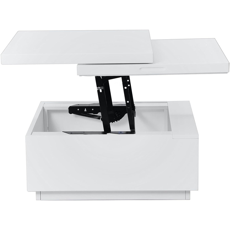 Amazon Nikka White Lacquer Lift Top Coffee Table Kitchen