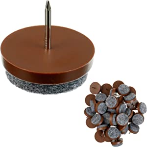 HUAREW 40 Pcs Brown Furniture Felt Pad Round Heavy Duty Nail-on Slider Glide Pad Floor Protector for Wooden Furniture Chair Tables Leg Feet (24 mm)