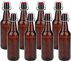 Glass Bottles with Swing Top Lids,Maredash Amber Glass Bottles for Home Brewing, Beer(8 pack)