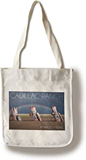 product image for Lantern Press Amarillo, Texas - Cadillac Ranch - Double Rainbow (100% Cotton Tote Bag - Reusable)