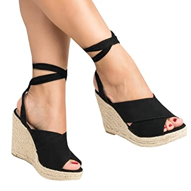 806eaccb3d18 Enjoybuy Womens Espadrille Wedge Peep Toe Sandals Summer Ankle Tie Up  Platform Shoes High Heel Sandal