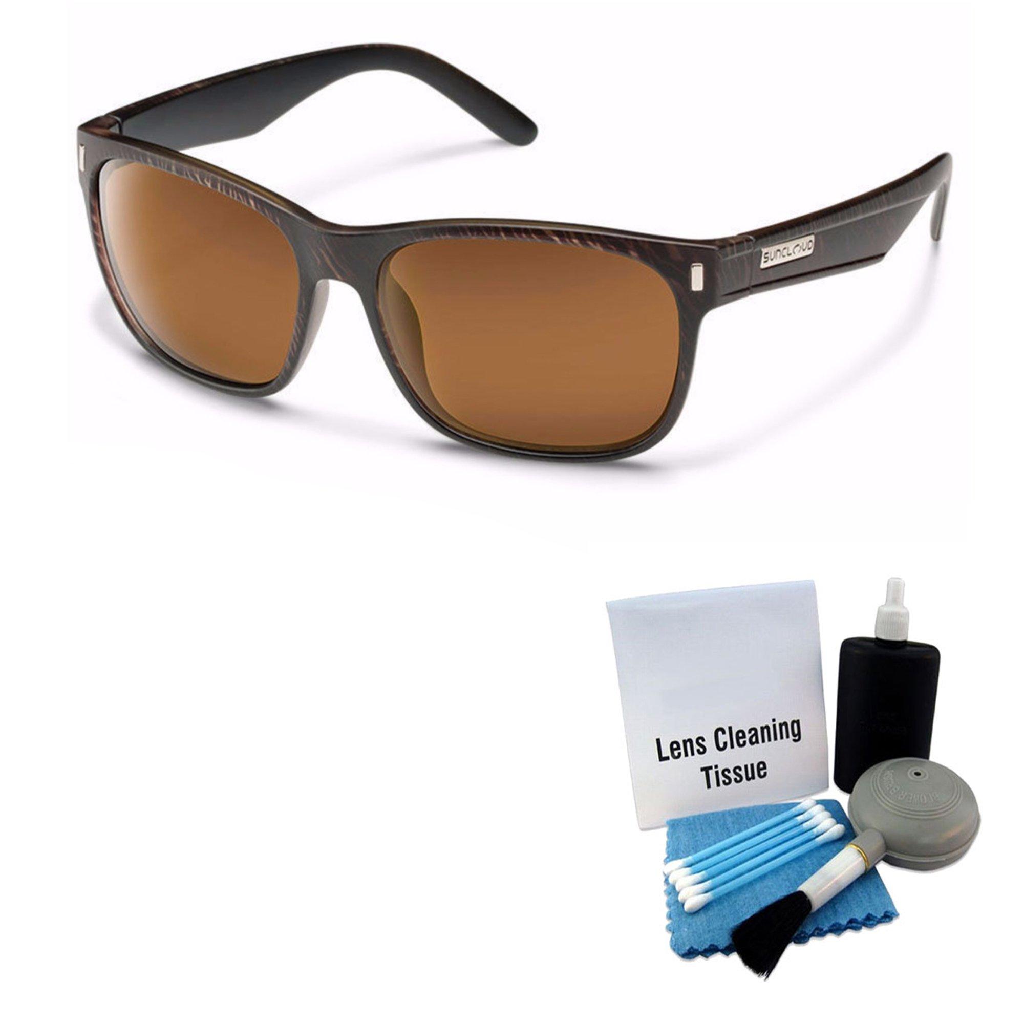 Suncloud Dashboard Injection Sunglasses - Blackened Tortoise Frame, Brown Lens Lens Cleaning Kit