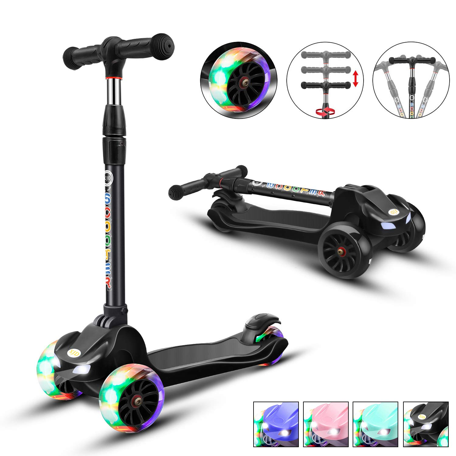 XJD Kick Scooter for Kids 3 Wheel Scooter for Toddlers Girls Boys Toddler Scooter 4 Adjustable Height, Lean to Steer with PU LED Light Up Wheels for Children from 3 to 14 Years Old, Black by XJD