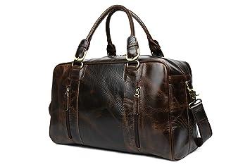 Tiding Pour des hommes Cru Classique cuir Nappa Voyage Duffle personne partant en weekend bagagerie Gym Épaule Sac fourre-tout Sac fourre-tout Noir 7V8jQp3C