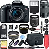 Canon EOS Rebel T7i DSLR Camera (1894C002) + 18-55mm IS STM & 75-300mm III Lens Kit + Accessory Bundle 64GB SDXC Memory + DSLR Photo Bag + Wide Angle Lens + 2x Telephoto Lens +Flash+Remote+Tripod