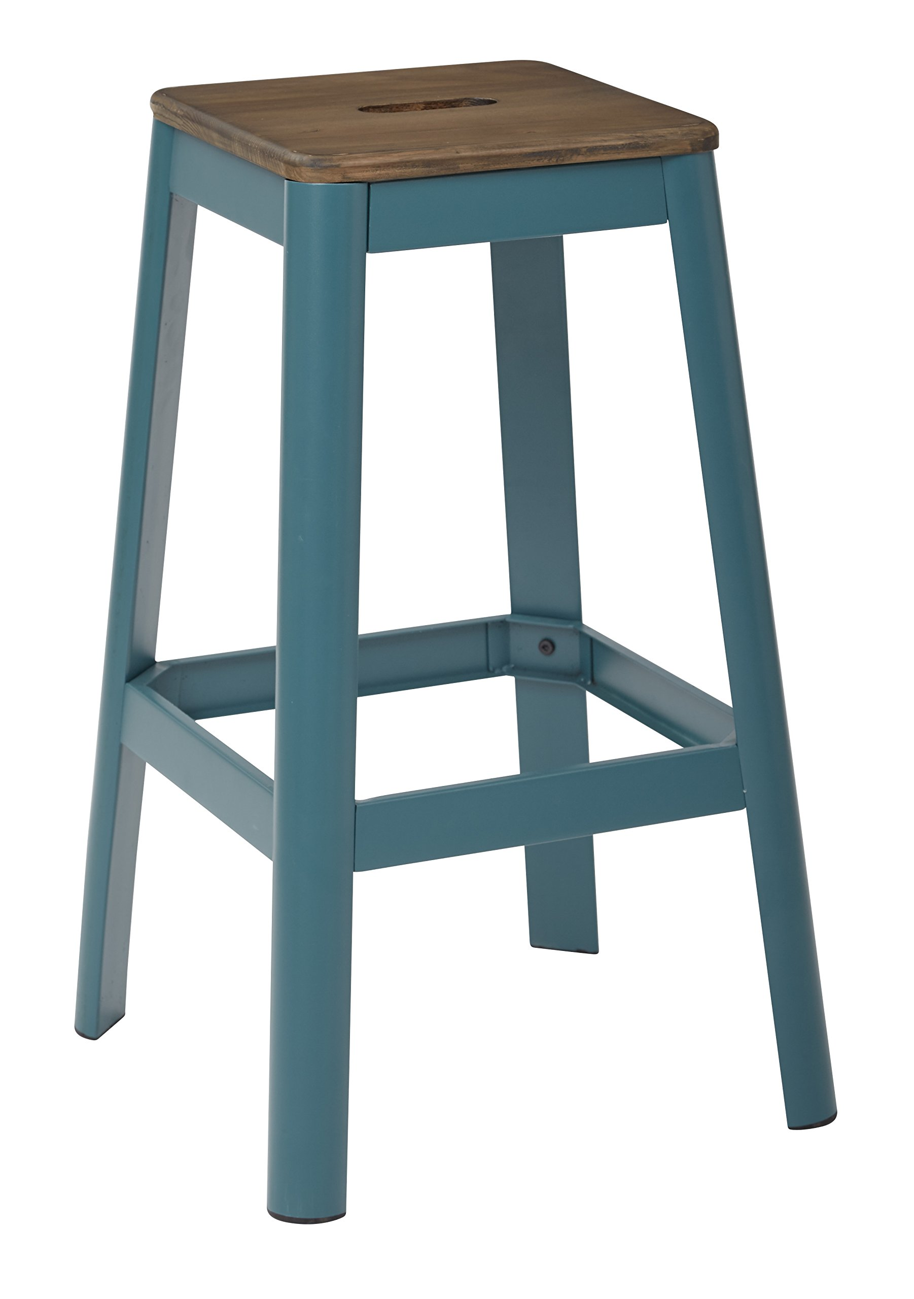 Work Smart/OSP Designs HMM9430D-C236-osp Hammond 30'' Metal Barstool with Dark Wood Seat and Frame, Frosted Teal