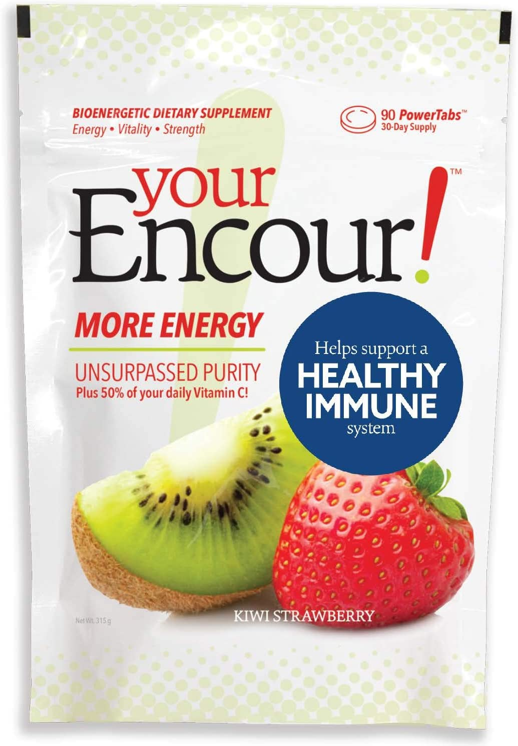 Your Encour! Immune Support Supplement with Vitamin C | Chewable Tablets | 30 Day Supply (Kiwi Strawberry)