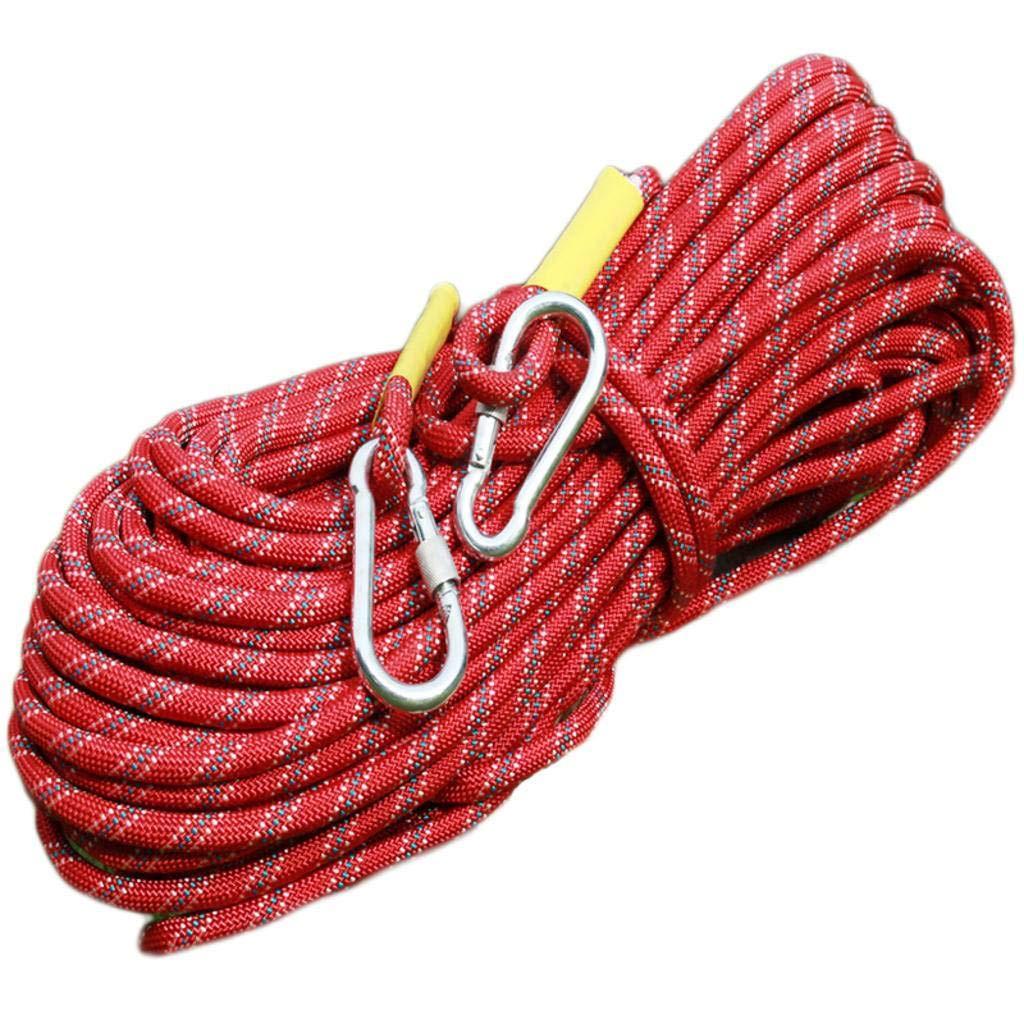 Rouge AMENZ Escalade Corde Corde de sécurité, Alpinisme Sauvetage Corde Corde de sécurité, Corde Auxiliaire pour Escalade Descente en Rappel 10M