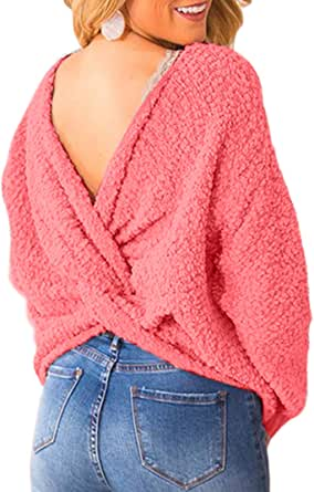 Asvivid Women's Fashion Fluffy Criss Cross V Neck Long Sleeve Knitted Sweater Twist Knot Backless Ladies Loose Popcorn Cozy Sweaters S Pink