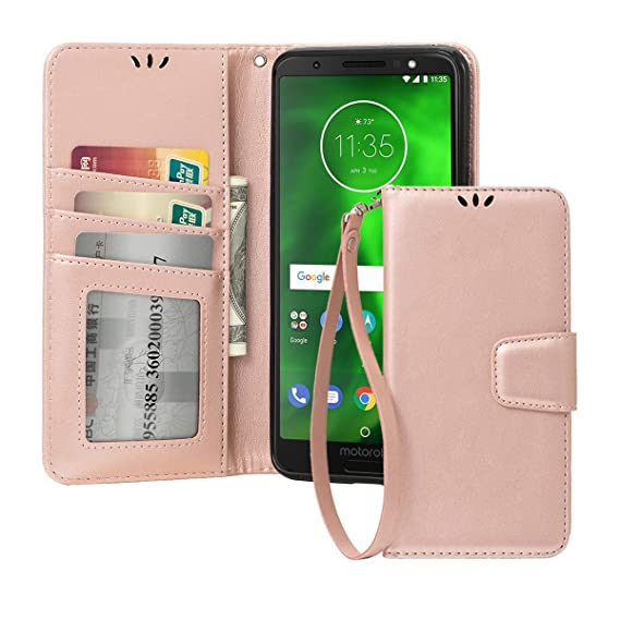 brand new 55b99 64994 Shemax Moto G6 Wallet Case, for Motorola Moto 1S Phone Case,Flip Case  Protective Shock Resistant Case Cover with Credit Card Slots for Motorola  Moto ...