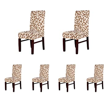 6 X Soft Fit Stretch Short Dining Room Chair Covers Printed Pattern Banquet