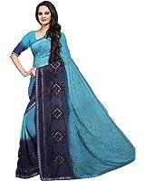 Craftsvilla Women's Chiffon Saree Embroidered Blue Saree With Blouse Piece (Mcraf50166385700_Saree)
