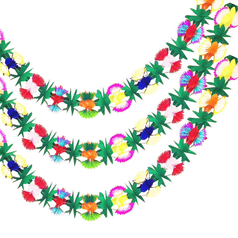 ロングトロピカルマルチカラーエクスプレスティッシュフラワーバナーガーランド ハワイアンテーマパーティー モアナパーティー ルアウサプライ デコレーション(3パック)   B07G76694V