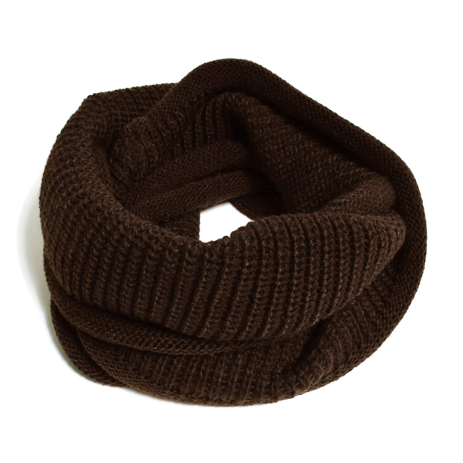 HappyTree Kids Hot Fashion Thick Knitted Winter Warm Infinity Scarf Dark Brown