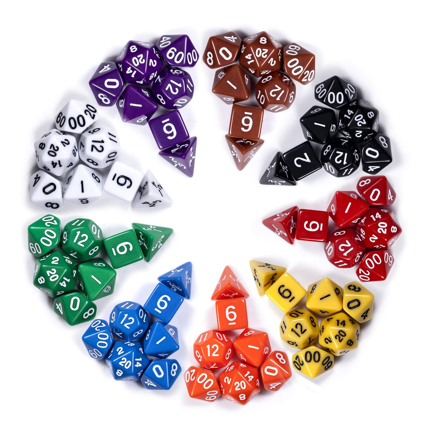 D&D Dice Sets, 9 Sets Assorted Polyhedral Dice Sets with Free Pouch for DND Dungeons and Dragons Roll Playing Game RPG Table Games by DNDND