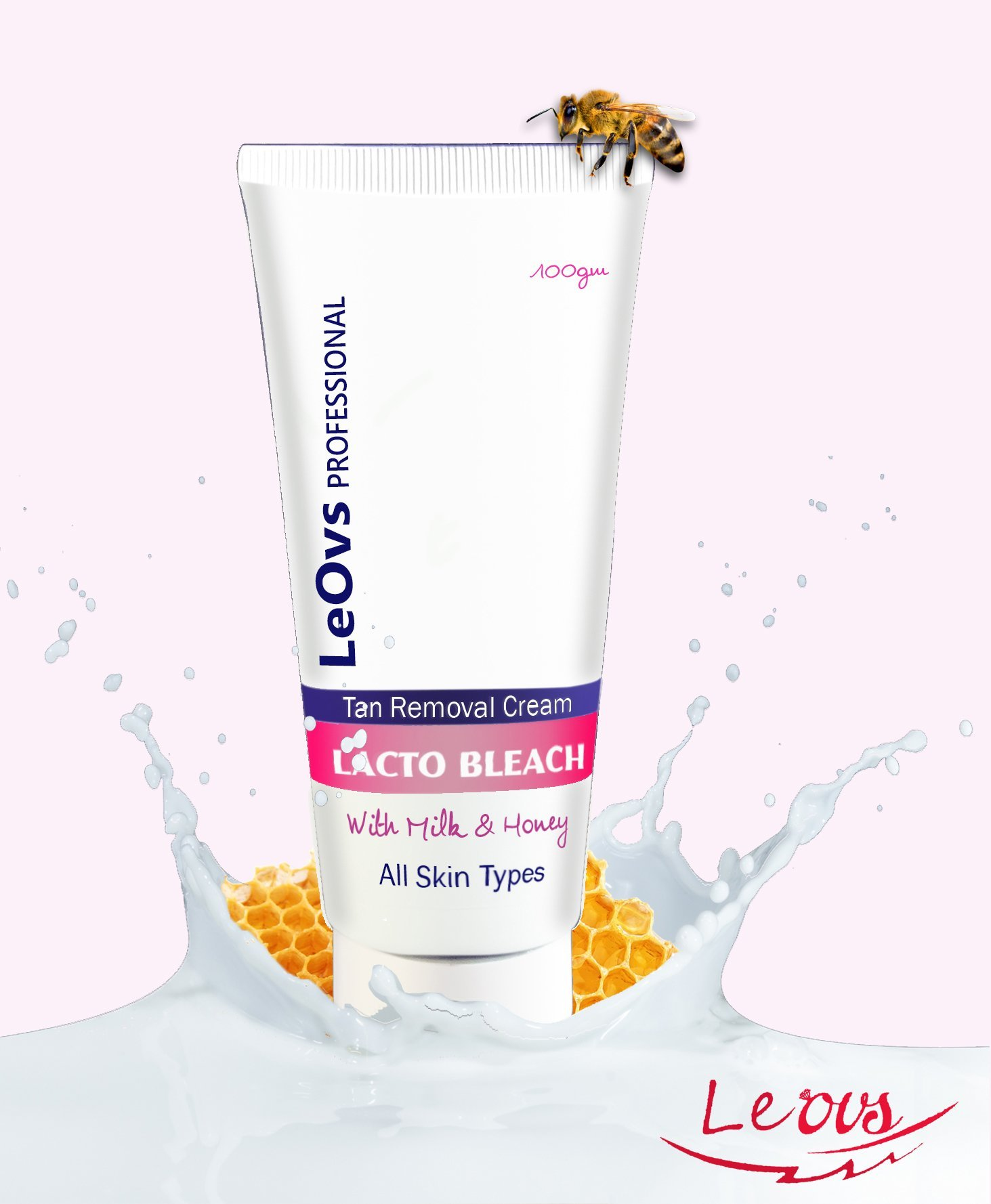 LeOvs Professional Lacto Bleach with Tan Removal and Instant Glow Cream 100 Gm product image