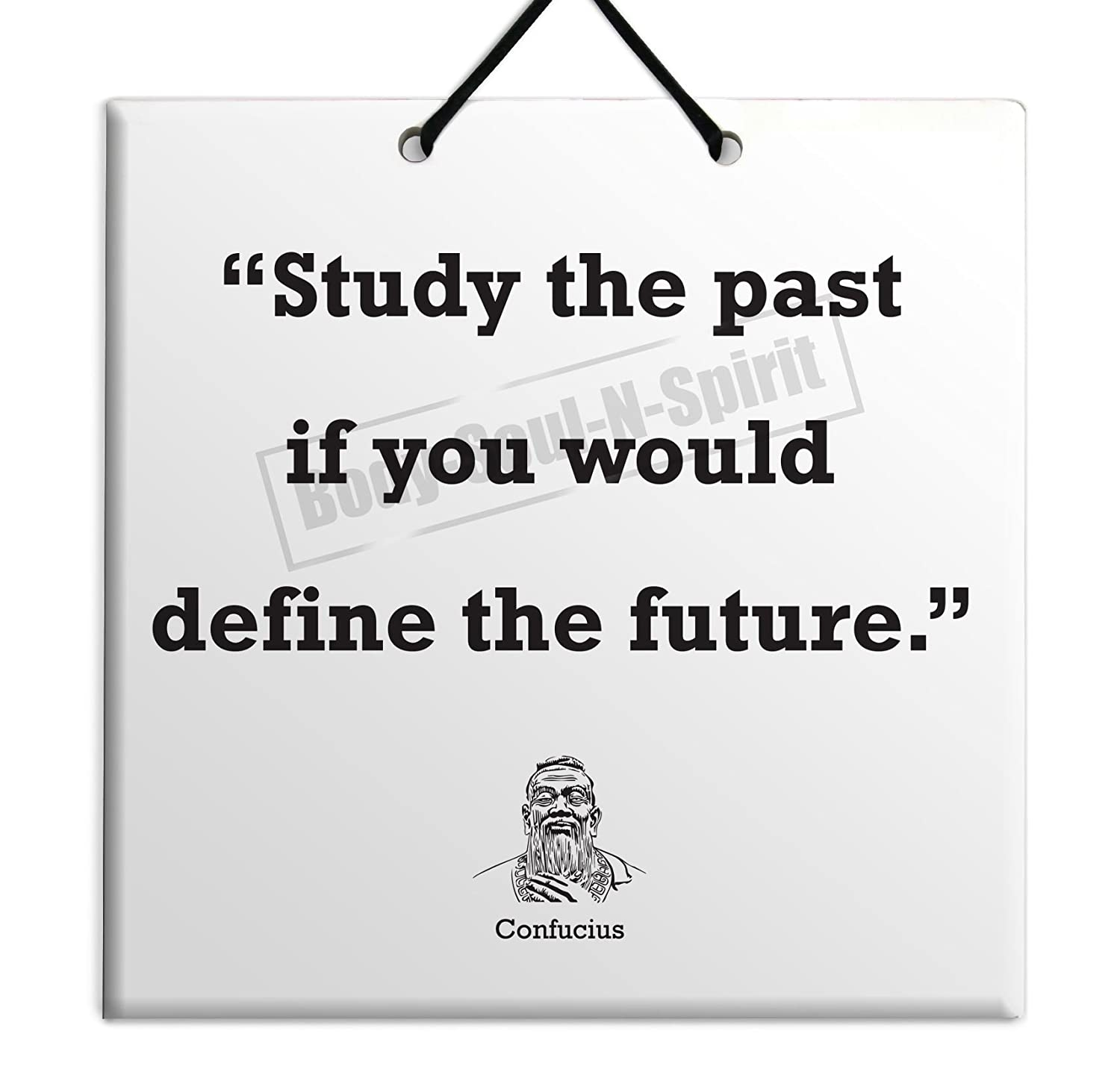 Amazon com confucius quote ceramic wall hanging art sign 15x15 cm study the past if you would define the future housewares plaque tile home decor