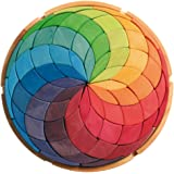 Grimm 大色圈螺旋木制曼荼罗创意拼图,直径为 38.1 厘米(4x4 尺寸)