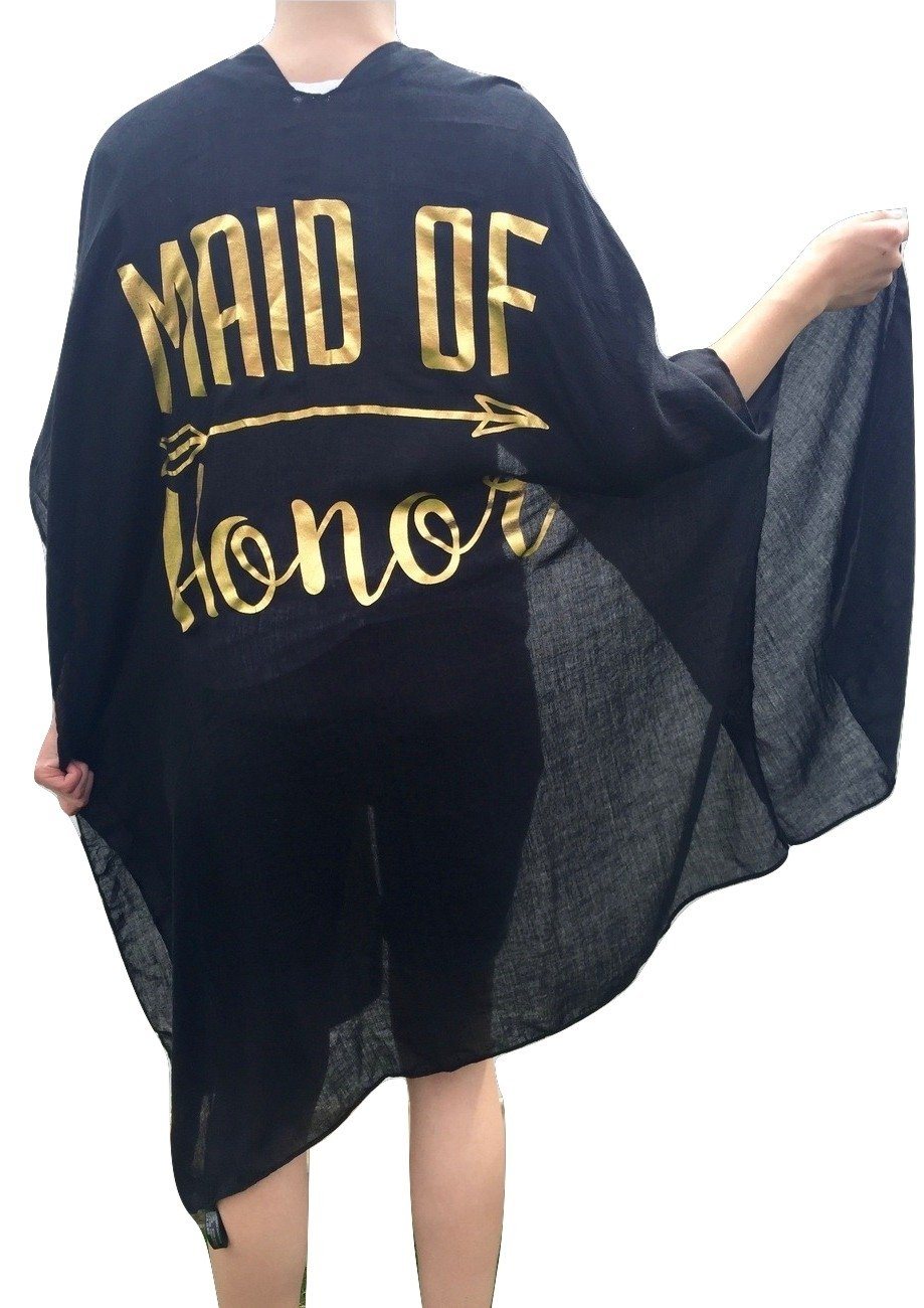 The Wasatch Clothing Co Women's Bride White/Gold or Maid of Honor Black/Gold Swimsuit Cover Up Beach Wedding Party (Black Maid of Honor)