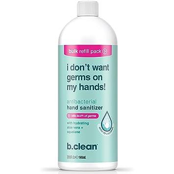 B.TAN b.clean Antibacterial Hand Sanitizer, Aloe Vera, 32 Fl Oz