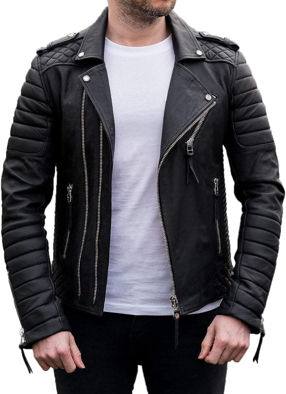 Men/'s Stylish Motorcycle Lambskin Genuine Leather Biker Jacket Black Gold Zipper
