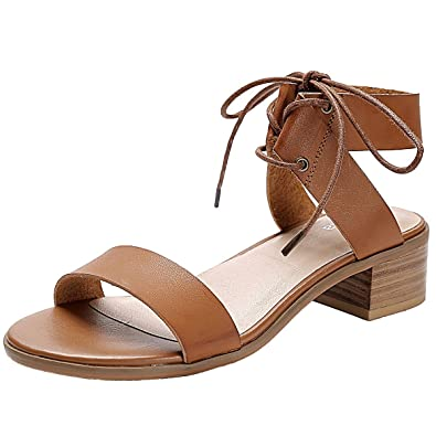 e526b37ceb14 Luoika Women s Wide Width Heeled Sandals - Comfortable Open Toe Ankle Strap  Flexible Pump Summer Shoes