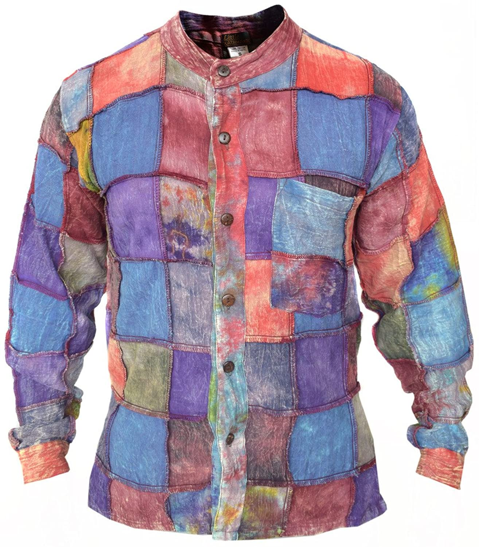 Little Kathmandu Men's Tie Dye Stonewashed Patch Cotton Grandad Shirt