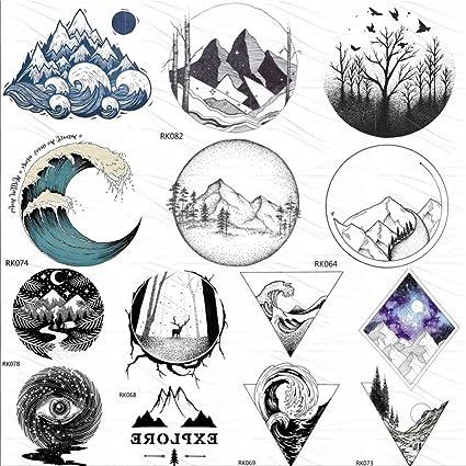 KAMRL Tatuaje Falso Tatuaje Montaña Geométrica Pequeño Tatuajes ...