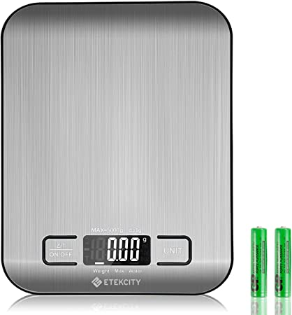 Etekcity Báscula de Cocina Digital de Precisión, Balanza Cocina de Acero Inoxidable 5 kg/ 11 lbs, Peso Cocina Multifuncional, Pantalla LCD, 2 Baterías Incluidas: Amazon.es: Hogar
