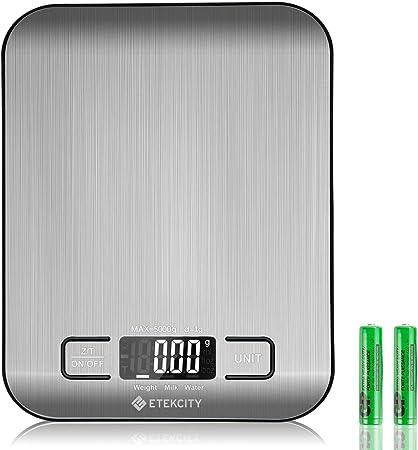 Etekcity Báscula Digital para Cocina de Acero Inoxidable, 5kg/11 lbs Bascula Comida de Precisión, Balanza de Alimento Multifuncional, Peso de Cocina con LCD Retroiluminación, Plata Baterías Incluidas: Amazon.es: Hogar