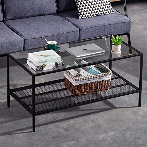 Bonnlo Modern Rectangular Coffee Table,Tempered Glass Coffee Cocktail Table