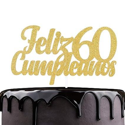 Feliz Cumpleaños 60 cumpleaños Cake Topper – Oro Glitter ...