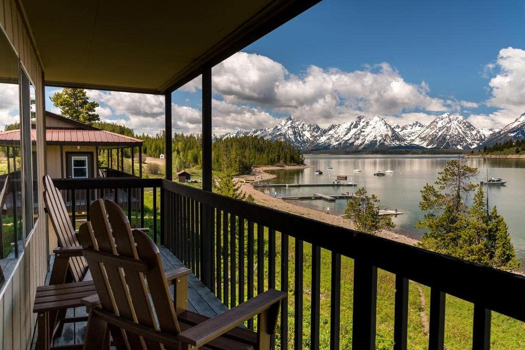 View of Grand Teton Mountain Range and Lake from Porch Photo Photograph Cool Wall Decor Art Print Poster 36x24
