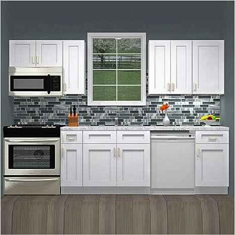 Amazon Com Lily Ann Cabinets 10 Foot Run Wood Kitchen Cabinets Ready To Assemble Rta Summit Shaker White Kitchen Dining