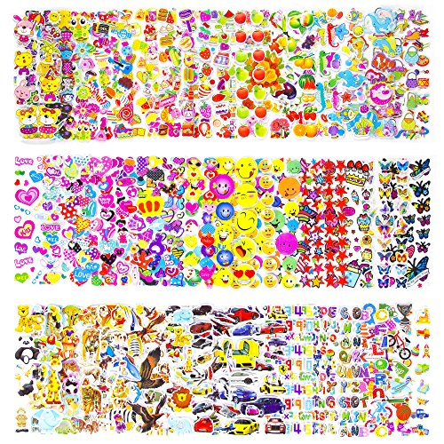 Pack of 50 Different Sheets MCY Toddlers and Kids Puffy Stickers for Children (Girls and Boys),1100+ Puffy Stickers Mega Variety (Halloween Math Projects)