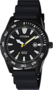 Citizen Quartz Mens Watch, Stainless Steel with Polyurethane strap, Casual, Black (Model: BI1045-13E)